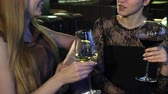 besties : Cropped shot of two young happy women smiling talking over a glass of wine at the bar