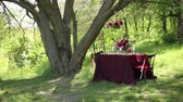 fabric : Outdoor wedding table decorations on a sunny day