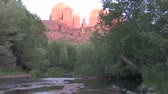 oak : Moon Over Cathedral Rock and Reflection in Oak Creek