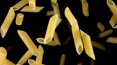 болонский : Pasta Penne bouncing against to the camera on a black background in slow motion