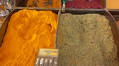 kurkuma : Different types of oriental spices on a beautifully decomposed showcase in the vegetable market