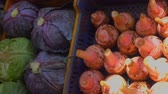 red cabbage : Panorama on a beautifully decomposed showcase in the vegetable market