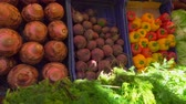 patlıcan : Bright juicy fresh greens and vegetables on a beautifully decomposed showcase in the vegetable market Stok Video