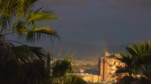 helyi : Amazing view on rainbow on the Israeli city Eilat, coastline and sky in the summer. Stock mozgókép
