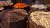 чечевица : Different types of legumes are in barrels in the Eastern market