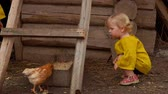 Lovely little girls review young birds in a farmhouse