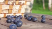 agrio : Slow motion one berrie Blueberrie fall on a wooden table next to a basket of birch bark Archivo de Video