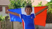 olympisch : Boy fan of the French national team standing with a French flag in his hands. Stockvideo