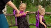 borboletas : Mom helps the girl to put on the wings of a butterfly. Children in fairy costumes play in the garden. Stock Footage