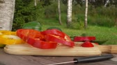ringen : Slices of fresh red pepper fall on a wooden board in slow motion on a clear sunny day