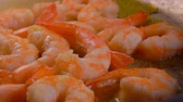 champanhe : Delicious shrimps fried in olive oil in a pan. Shrimp Recipe Stock Footage