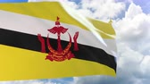 brunei : 3D rendering of Brunei flag waving on blue sky background with Alpha channel can change background later, Brunei National Day, Hari Nasional in Malay is always celebrated on 23 February