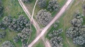 landhaus : aerial vertical view of a park, country house, Madrid Stock Footage