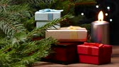 christmas tree ornament : New Year presents under the tree. Stock Footage
