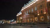 denominou : Museum of the Patriotic War of 1812 at the Red Square of Russia in Moscow at night timelapse hyperlapse 4K