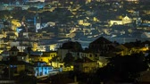 sky : Aerial view of Funchal by night timelapse, Madeira Island, Portugal 4K