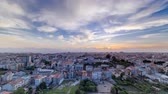 roof : Panoramic view on Rooftops of Portos old town on a warm spring day timelapse  with beautiful sunset and cloudy sky, Porto, Portugal 4K Stock Footage