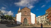 madeira : Catholic church in Funchal, Madeira island, Portugal timelapse hyperlapse with blue cloudy sky at sunny day 4K