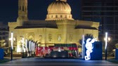 jako mramor : Al Noor Mosque in Sharjah at night with fountain timelapse. United Arab Emirates