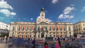correos : The Old Post Office building timelapse hyperlapse. Located in the Puerta del Sol. Madrid, Spain