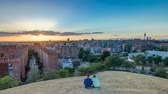 pátio : Panoramic sunset timelapse View of Madrid, Spain. Photo taken from the hills of Tio Pio Park, Vallecas-Neighborhood. Stock Footage