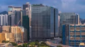 classic : Top view of busy traffic day in finance urban timelapse, hong kong city Stock Footage