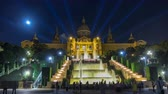 placa de catalunya : Famous light show and magic fountains timelapse hyperlapse in front of the National Art Museum at Placa Espanya in Barcelona at night, Catalonia, Spain