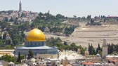 judaísmo : Panorama overlooking the Old city of Jerusalem timelapse, Israel, including the Dome of the Rock