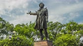 scrittore : Monument to Alexander Pushkin timelapse hyperlapse on Ploshchad Iskusstv Arts Square in St.-Petersburg, Russia Filmati Stock