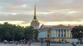 marinha : Building of naval engineering Institute Admiralty on Palace square timelapse hyperlapse. St.Petersburg, Russia Stock Footage