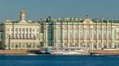 campanário : Tourists in the excursion boat sail on The Neva River timelapse. On the back side is The State Hermitage Building Winter Palace
