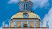 campanário : Upper part with clock of the tower of the Admiralty building timelapse in St. Petersburg, Russia. Vídeos