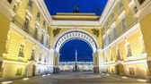 triumphal arch : View of the Alexander Column through the arch of the General Staff timelapse hyperlapse.