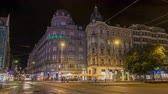 new capital : Wenceslas Square in Prague at night timelapse hyperlapse, dusk time. Stock Footage