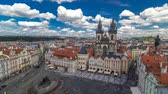 Влтава : Old Town Square timelapse in Prague, Czech Republic. It is the most well know city square Staromestka nameste . Стоковые видеозаписи