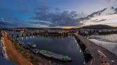 Čechy : The View on Ltava river and Prague Hill Petrin timelapse day to night with beautiful colorful sky, Czech Republic