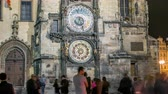 заводной : Night view of the medieval astronomical clock in the Old Town square timelapse in Prague