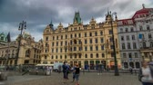 godo : Art Nouveau buildings timelapse hyperlapse in Old Town Stare Mesto by Prague Namesti Republiky station. Prague, Czech Republic