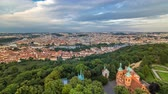 praga : Wonderful timelapse View To The City Of Prague From Petrin Observation Tower In Czech Republic