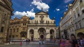salvator : St. Salvator Church timelapse hyperlapse. Part Of Historic Complex In Prague - Clementinum, Czech Republic