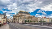 pêssego : Timelapse hyperlapse view of the National Theater in Prague from the Legion Bridge. Stock Footage