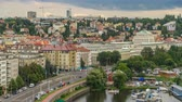 Влтава : View of Prague timelapse from the observation deck of Visegrad. Prague. Czech Republic. Стоковые видеозаписи