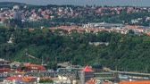 praga : Panoramic view of Prague timelapse from the top of the Vitkov Memorial, Czech Republic
