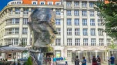 gigantesco : Monument of Franz Kafka timelapse in form of gigantic head with rotating segments. Prague, Czech Republic. Vídeos