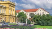 croata : The building of the Croatian National Theater timelapse. Croatia, Zagreb.