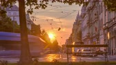tram : Street with sunset in the Croatian capital Zagreb.