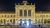 ザグレブ : People on the Tomislav Square in front of Main Railway Station night timelapse, main hub of Croatian Railways network. ZAGREB, CROATIA