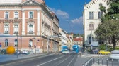 academia : Street near new building of Croatian Music Academy timelapse in Zagreb, Croatia.