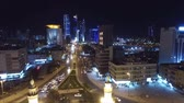 stunning view : Kuwait skyline at night. Some famous places in Kuwait shooting from the sky