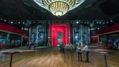 strop : Beautiful elegant parquet hall in theatre timelapse hyperlapse